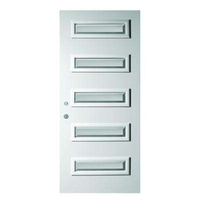 37.375 in. x 82.375 in. Ruth Satin Opaque 5 Lite Painted White Right-Hand Inswing Steel Prehung Front Door