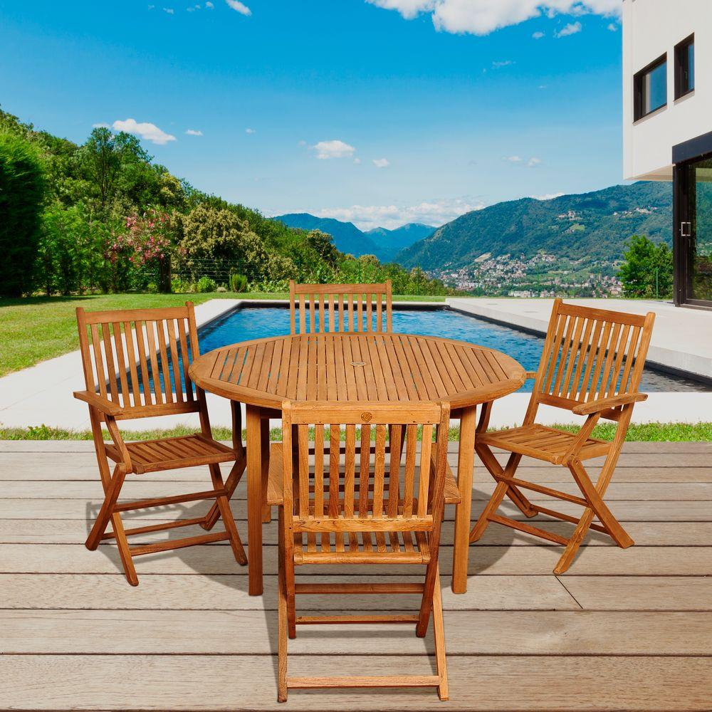 Amazonia Wilson 5-Piece Teak Round Patio Dining Set