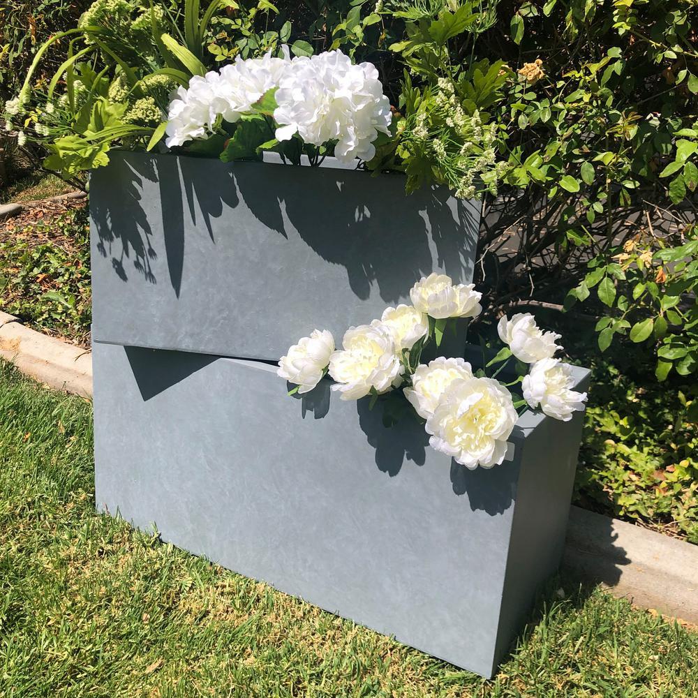 Lightweight Concrete Modern Long Low Grey Planter (Set of 2)