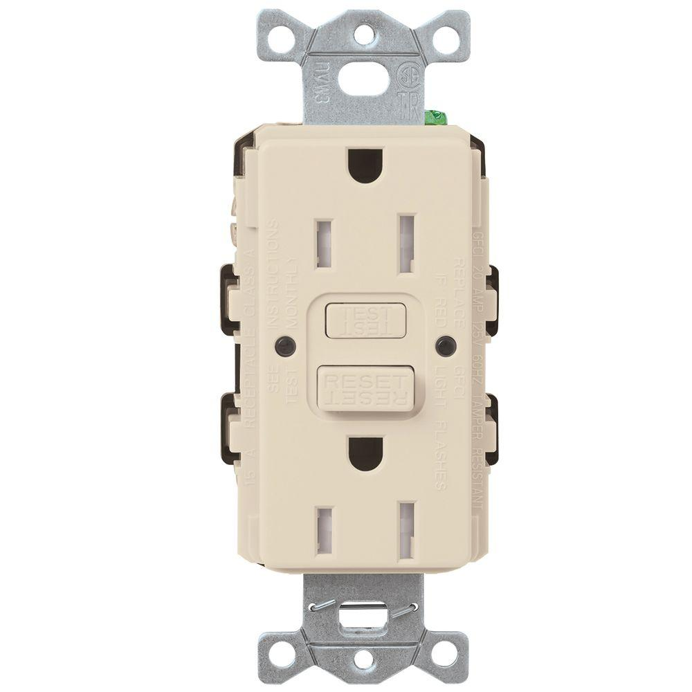 Electrical How Do I Wire A Duplex Outlet From Switch 2016 Car Wiring Receptacle Light Lutron 15 Amp Tamper Resistant Gfci Almond