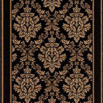 Kurdamir Damask Black 33 in. x Your Choice Length Roll Runner