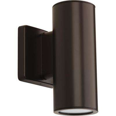 Cylinders Collection 2-Light Antique Bronze Integrated LED Outdoor Wall Mount Cylinder Light