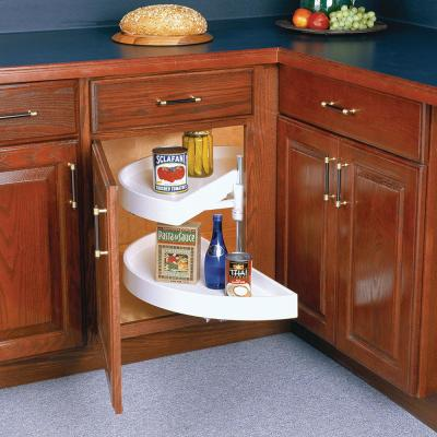 17 in. x 27.88 in. x 13 in. Half Moon Pivot Polymer Lazy Susan Cabinet Organizer