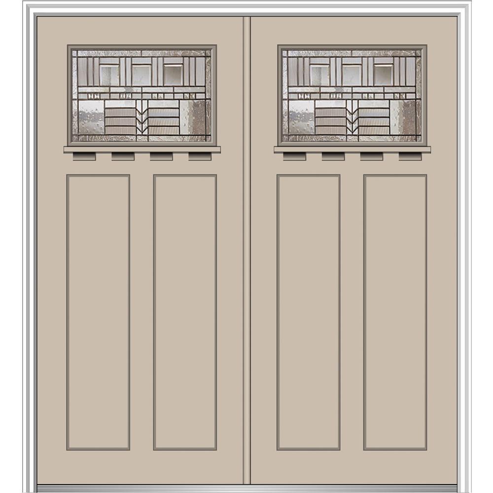64 in. x 80 in. Oak Park Left-Hand Inswing 1/4-Lite Decorative Painted Fiberglass Smooth Prehung Front Door with Shelf