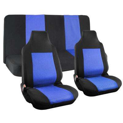 Polyester Seat Covers Set 26 in. L x 21 in. W x 48 in. H 4-Piece Seat Cover Set Integrated Bench Black and Blue