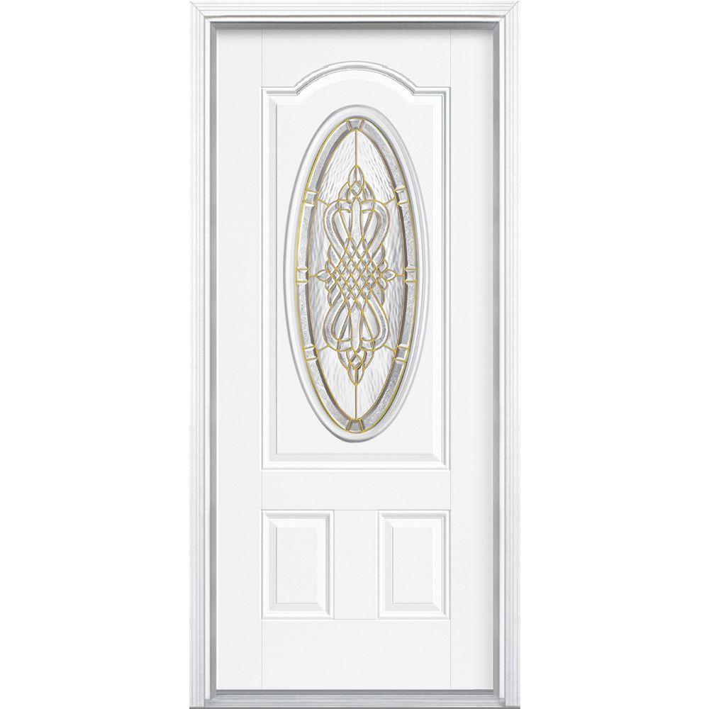 Masonite 36 in. x 80 in. New Haven 3/4 Oval Left Hand Inswing Primed White Smooth Fiberglass Prehung Front Door w/ Brickmold