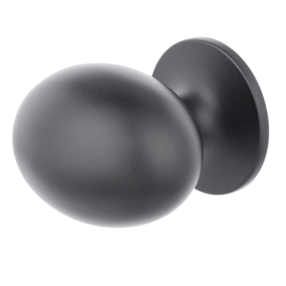 Everbilt Large Football 1-3/8 in. Matte Black Classic Oval Cabinet Knob (25-Pack)