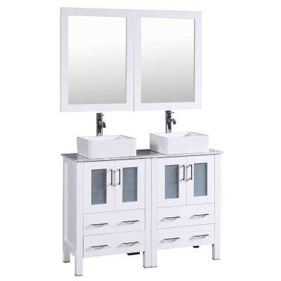 48 in. Double Vanity in White with Carrara Marble Vanity Top in Gray with White Basin and Mirror