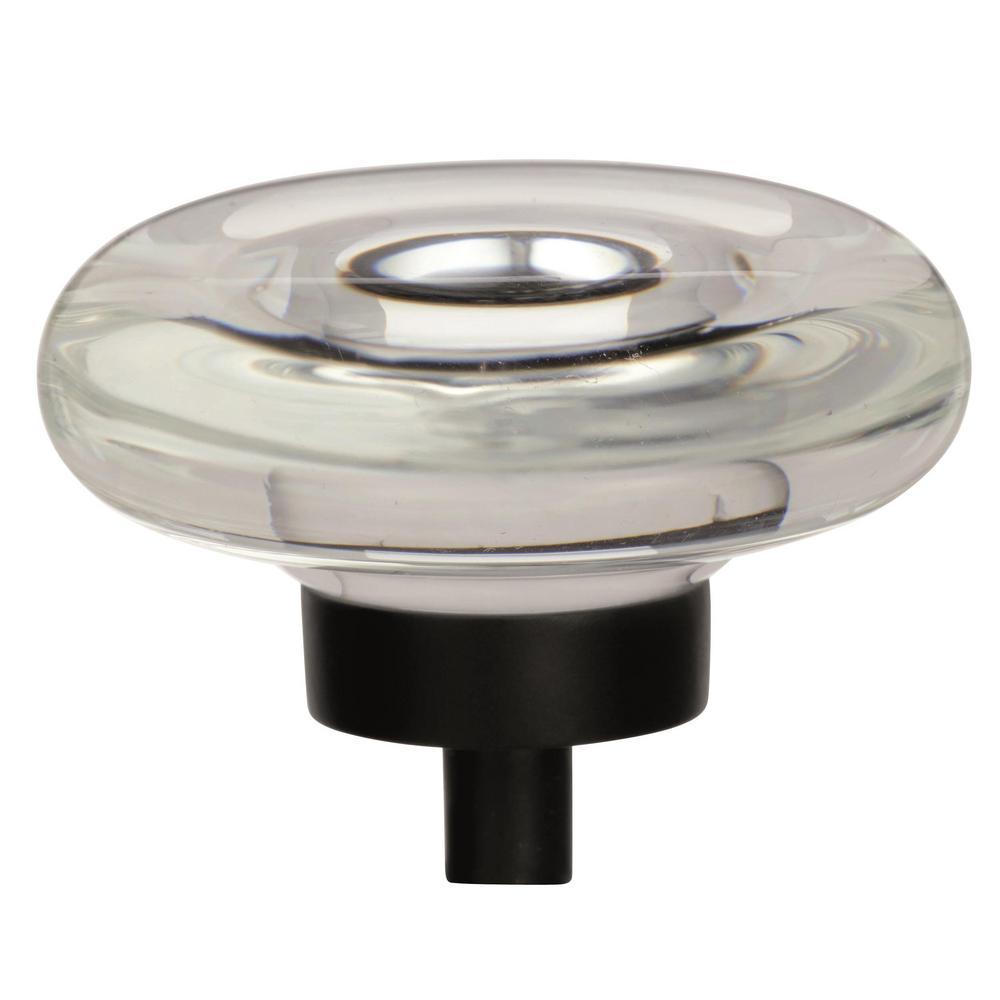 Glacio 1-3/4 in (44 mm) Diameter Clear/Black Bronze Cabinet Knob