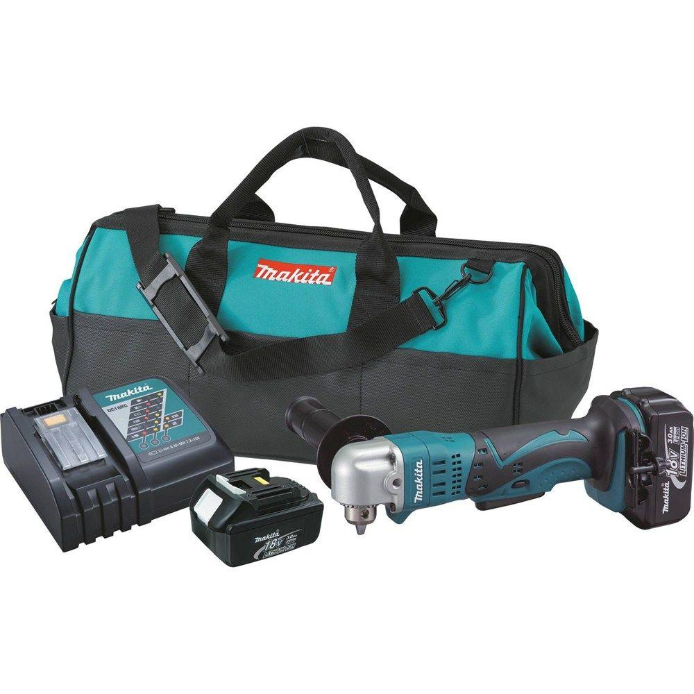 Makita 18-Volt LXT 3/8 in. Cordless Angle Drill Kit with (2) Batteries 3.0Ah, Charger, and Tool Bag
