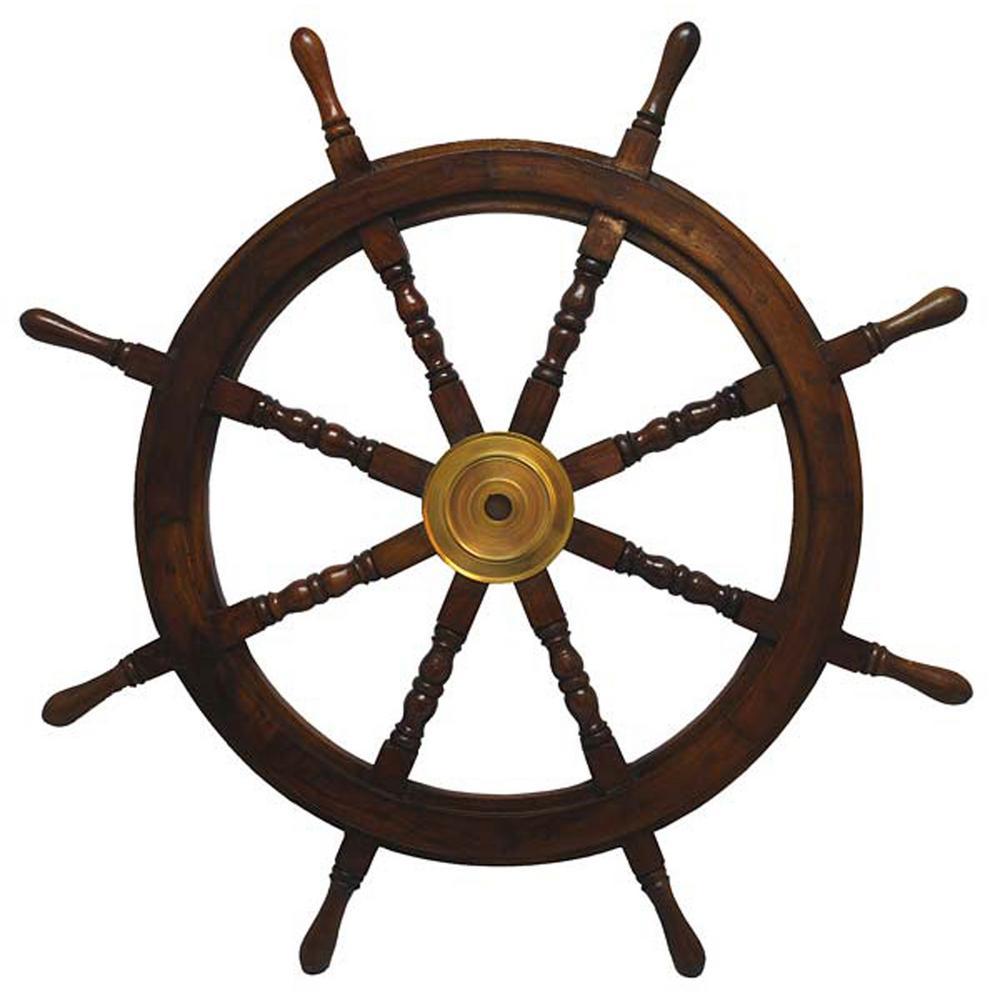 36 in. x 36 in. Nautical Wooden Ships Wheel Wall Art