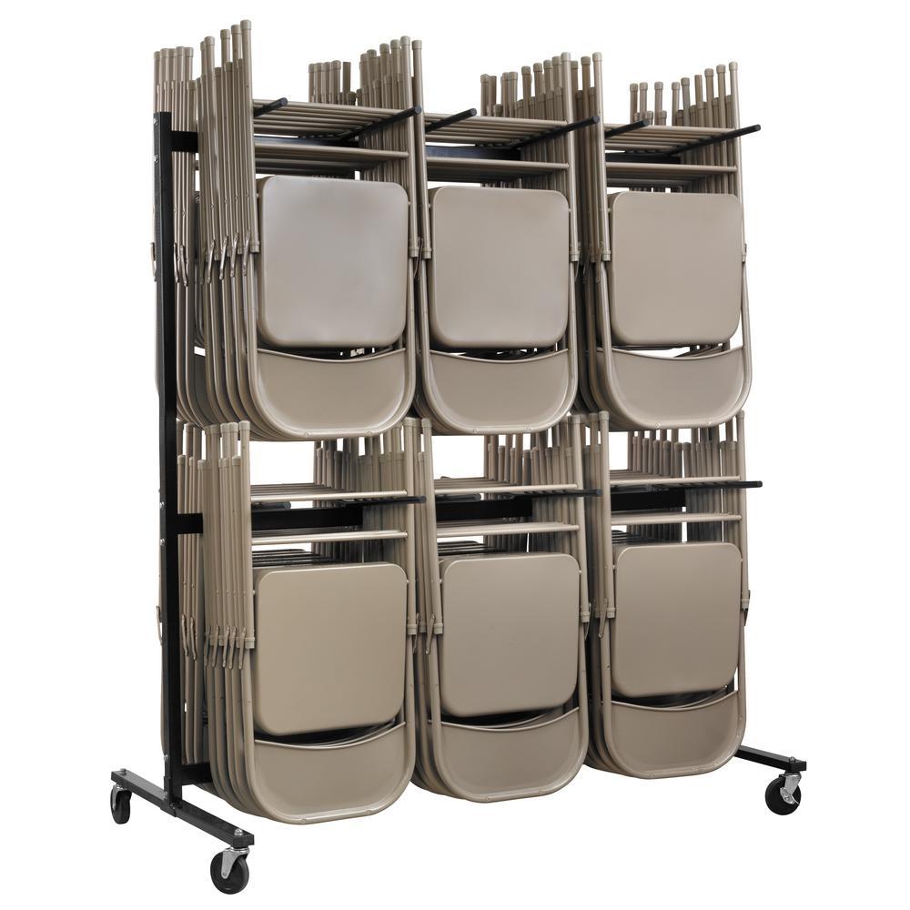 600 lbs. 2-Tier Steel Folding Chair Cart
