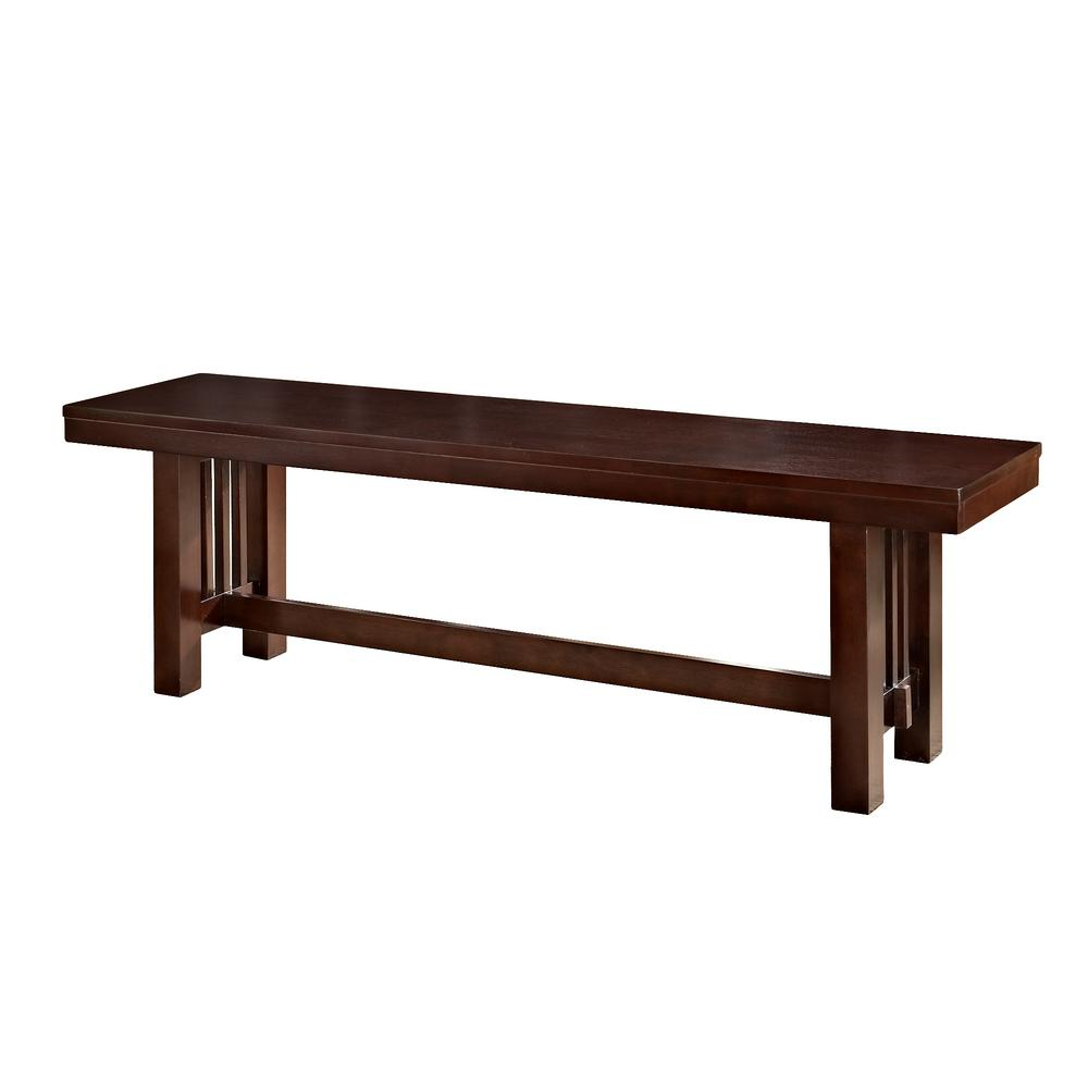 Walker Edison Furniture Company Meridian Cappuccino Bench Hdbm1cno The Home Depot