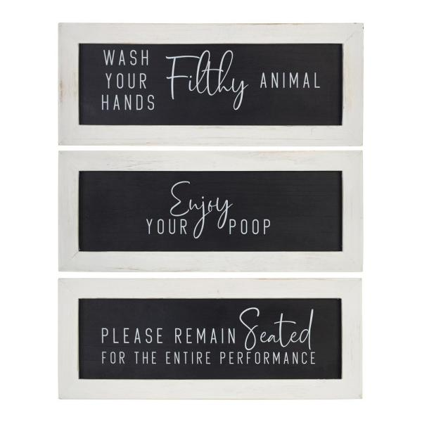 Stratton Home Decor Bathroom Humor Wall Art Set Of 3 S33519 The Home Depot