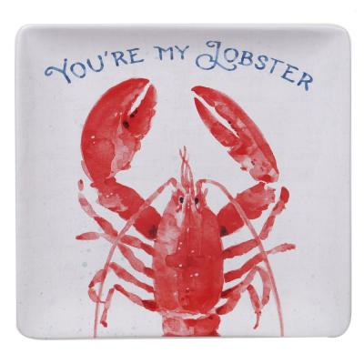 Nautical Life Multi-Colored 12.5 in. Earthenware Square Lobster Platter
