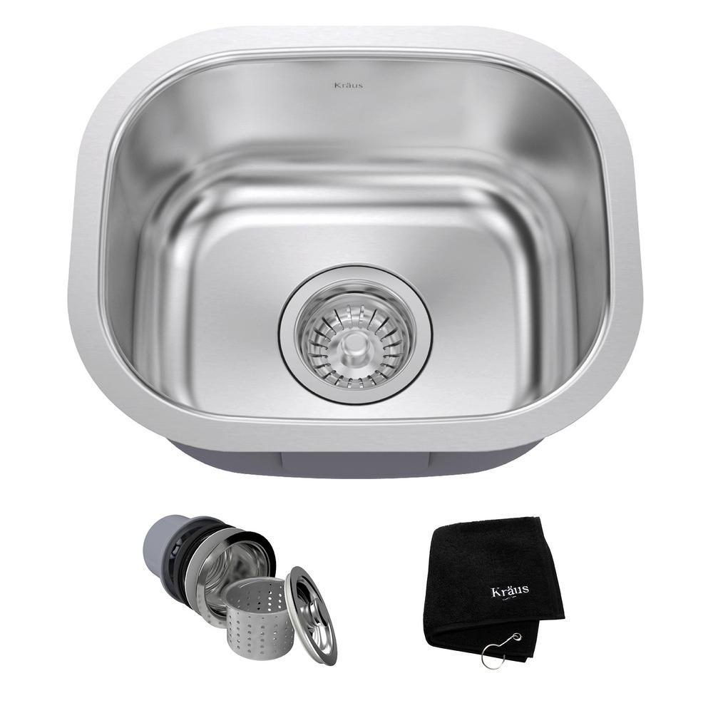 KRAUS Undermount Stainless Steel 15 In. Single Bowl Kitchen Sink Kit KBU17    The Home Depot