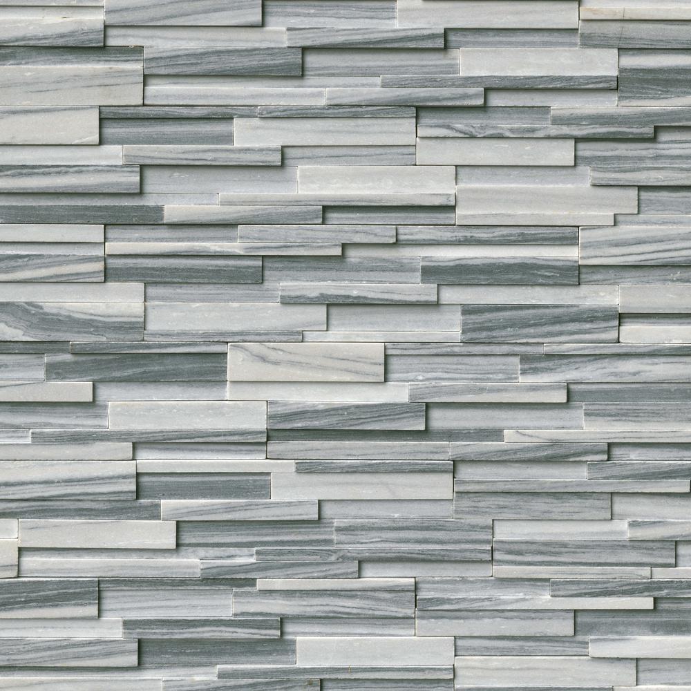 Alaska Gray 3D Ledger Corner 6 in. x 6 in. x 6 in. Honed Marble Wall Tile (2.5 sq. ft. / case)