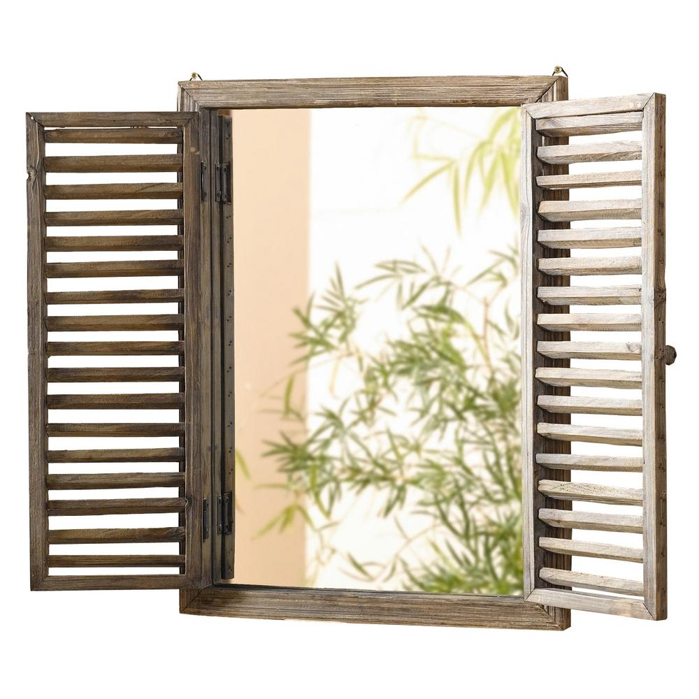 16 in. x 21 in. Rustic Wooden Frame Shuttered Wall Mirror