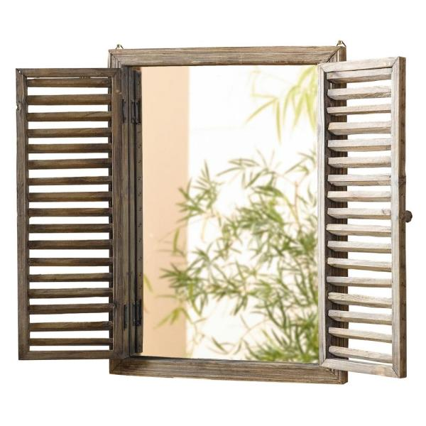 Rustic Wooden Frame Shuttered Wall Mirror