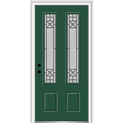 36 in. x 80 in. Courtyard Right-Hand 2-Lite Decorative Painted Fiberglass Smooth Prehung Front Door on 6-9/16 in. Frame