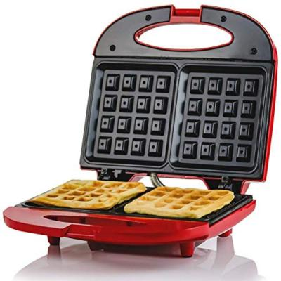 750-Watt 2-Slice of Waffle Electric Red Waffle Maker Non-Stick Plates, Safety Cover Latch, Indicator Lights