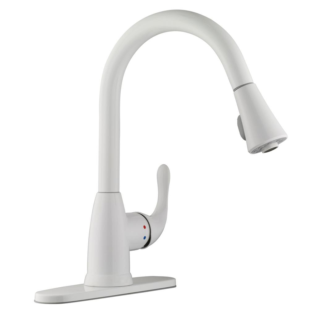 White Kitchen Taps: Glacier Bay Market Single-Handle Pull-Down Sprayer Kitchen
