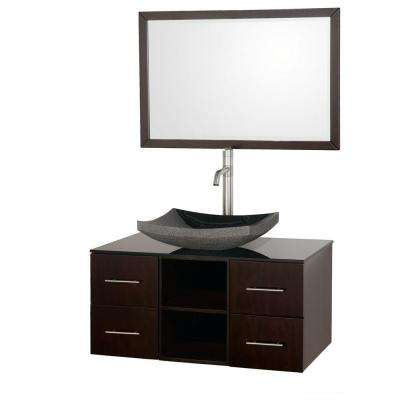 Abba 36 in. Vanity in Espresso with Glass Vanity Top in Black and Mirror