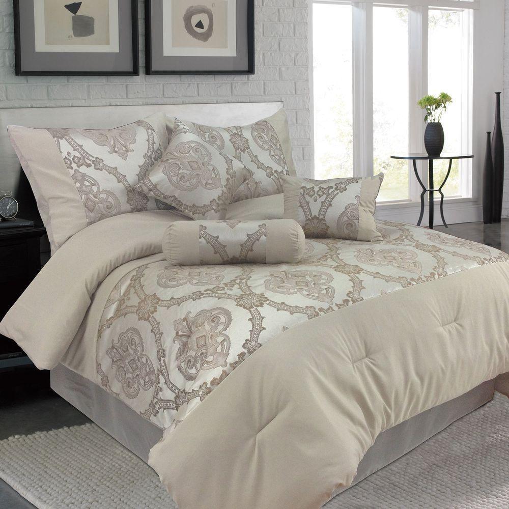 Lavish Home Queen Sofia Jacquard Comforter (7-Piece)