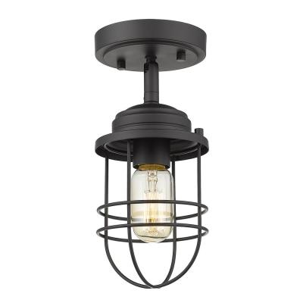 Seaport 1-Light Black Semi-Flush Mount Light