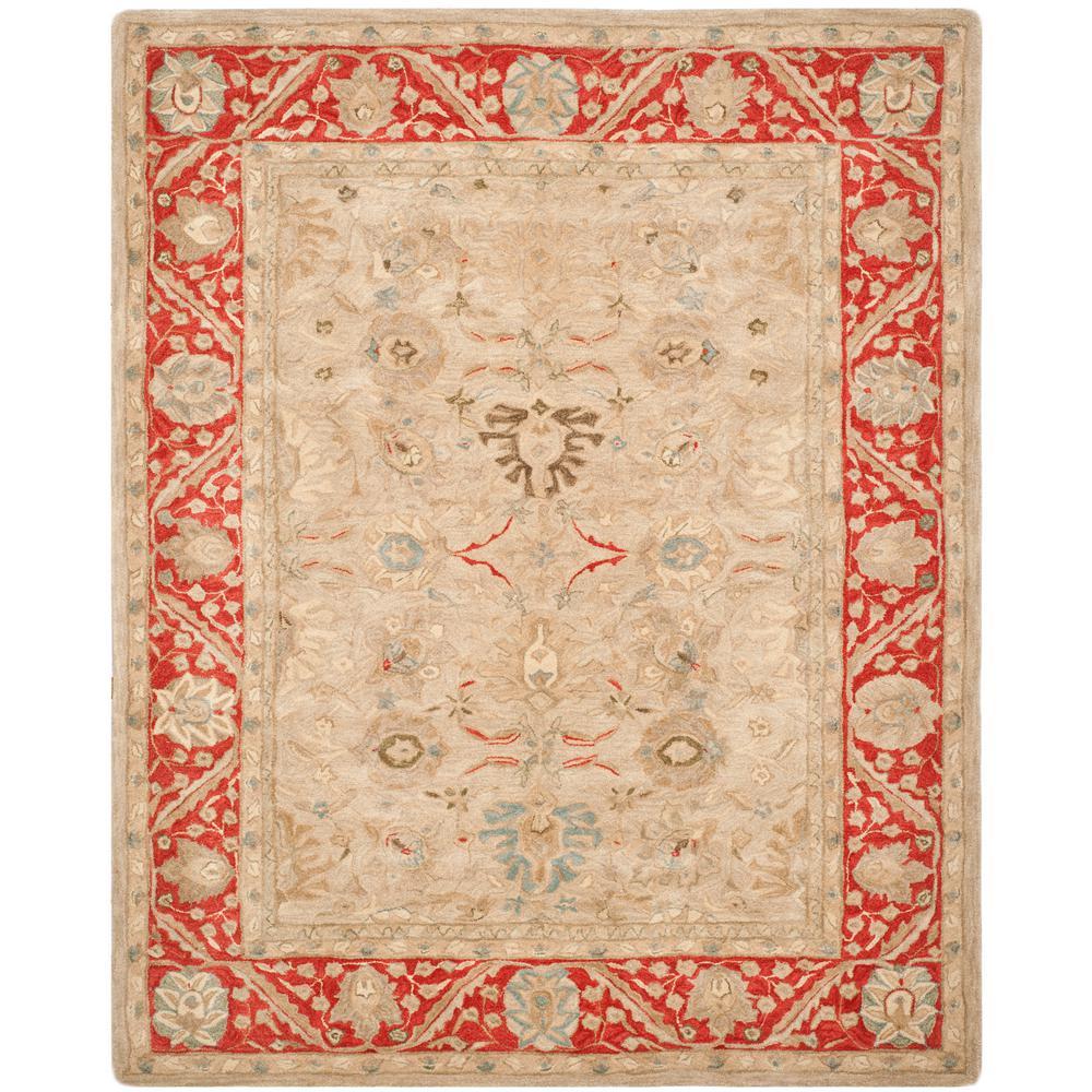 6 X9 Handmade Persian Wool Silk Area Rug Oriental Design: Safavieh Anatolia Taupe/Red 6 Ft. X 9 Ft. Area Rug-AN569A