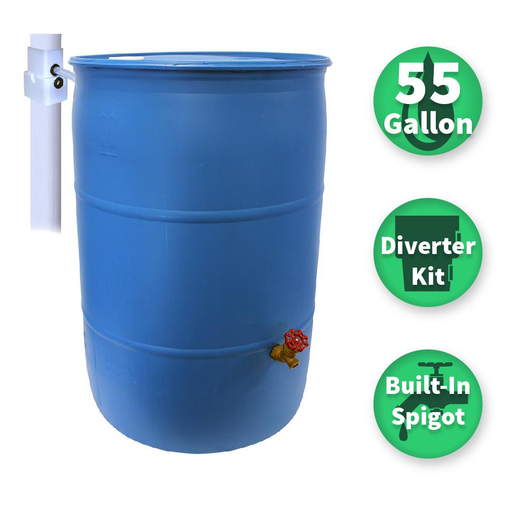 Emsco 55 Gal Paintable Blue Plastic Drum Diy Rain Barrel Bundle With Diverter System And