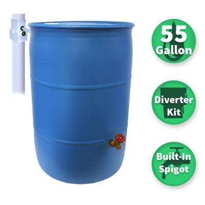 Paintable Blue Plastic Drum DIY Rain Barrel Bundle With