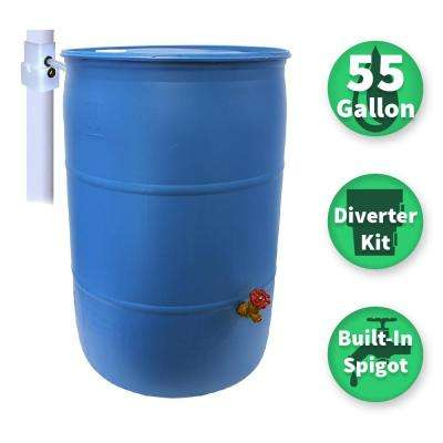 55 Gal. Paintable Blue Plastic Drum DIY Rain Barrel Bundle with Diverter System and Built-in Spigot