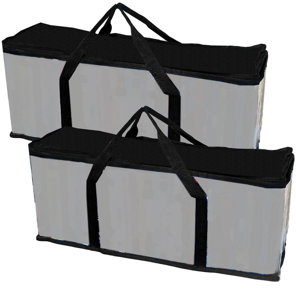 Evelots Portable 12 Qt. VHS Storage Tote in Black (2-Pack)