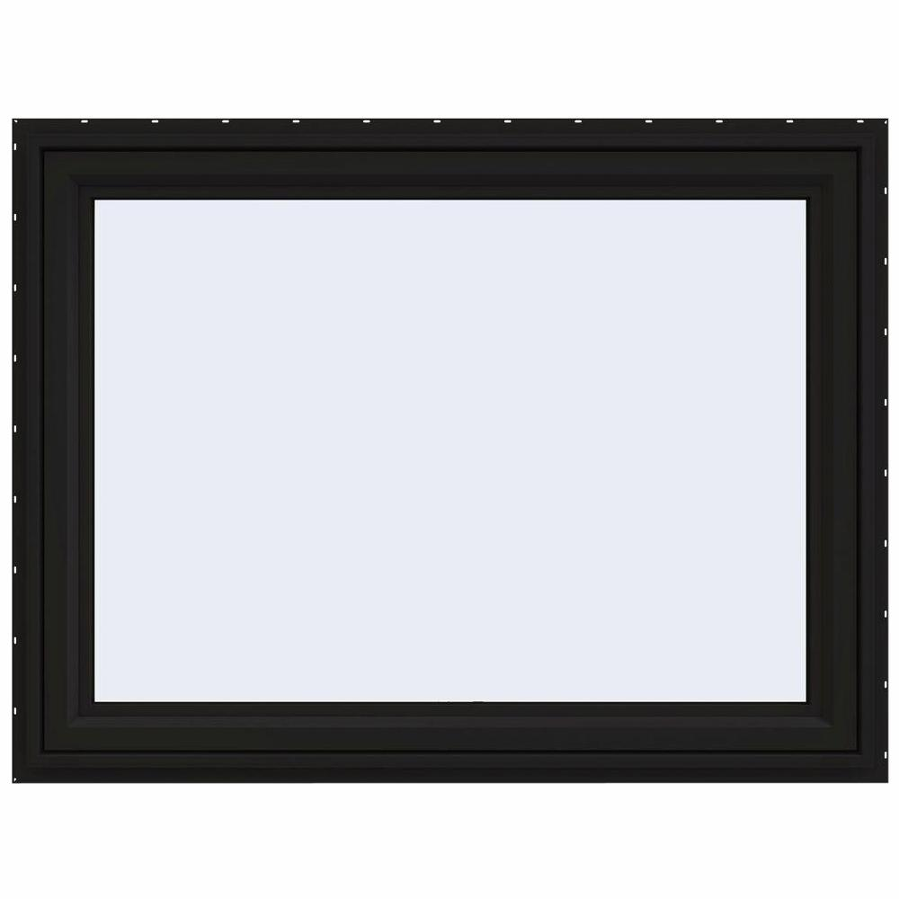 JELD-WEN 48 in. x 36 in. V-4500 Series Black FiniShield Vinyl Awning Window with Fiberglass Mesh Screen