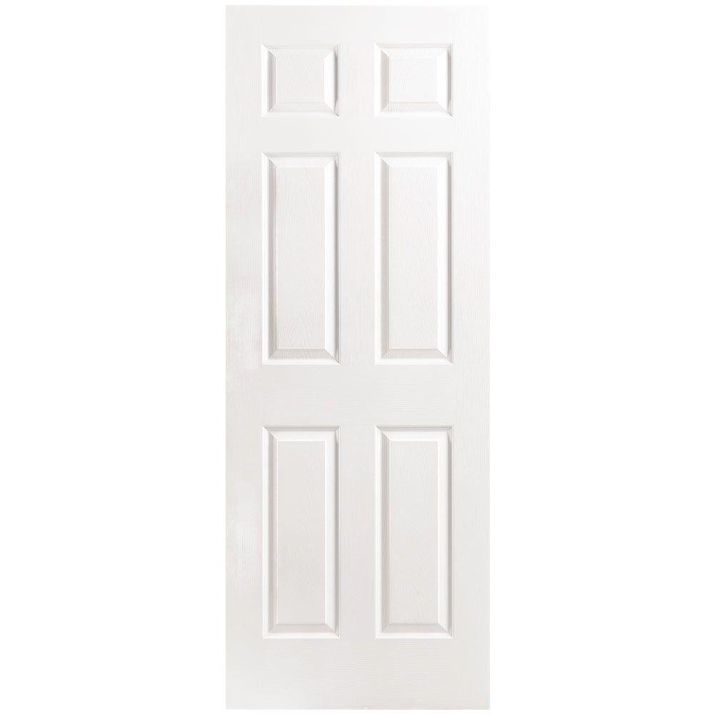 Masonite 30 In. X 80 In. 6 Panel Left Handed Hollow Core Textured Primed  Composite Single Prehung Interior Door 31752   The Home Depot