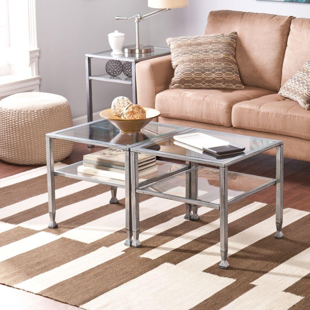 Southern Enterprises Silver Coffee Table