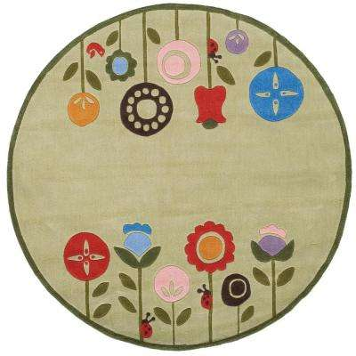 Caprice Collection Green 5 ft. x 5 ft. Indoor Round Area Rug