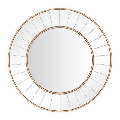 Medium Round Gold Beveled Glass Classic Accent Mirror (32 in. Diameter)