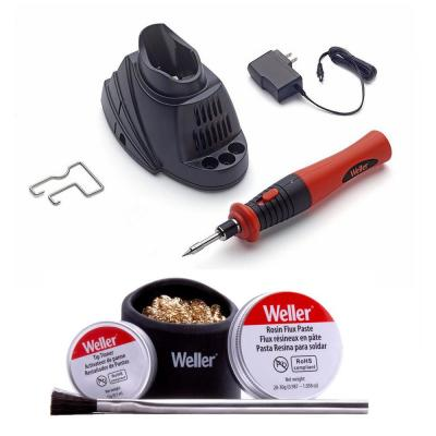 Cordless Soldering Iron with Rechargeable Lithium-Ion Battery and Accessory Kit Combo
