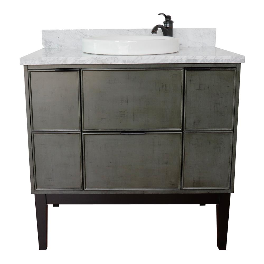 Bath Vanity Gray Marble Vanity Top White Round Basin