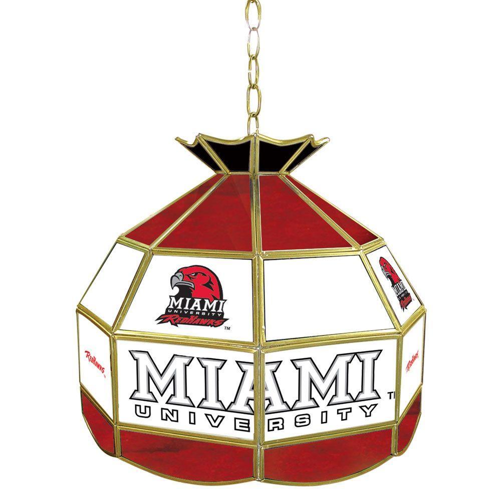 Trademark Global Miami University Ohio 16 in. Gold Hanging Tiffany Style Billiard Lamp