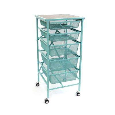 Folding Steel 5 Drawer Storage Kitchen Cart Wood Top, Turquoise