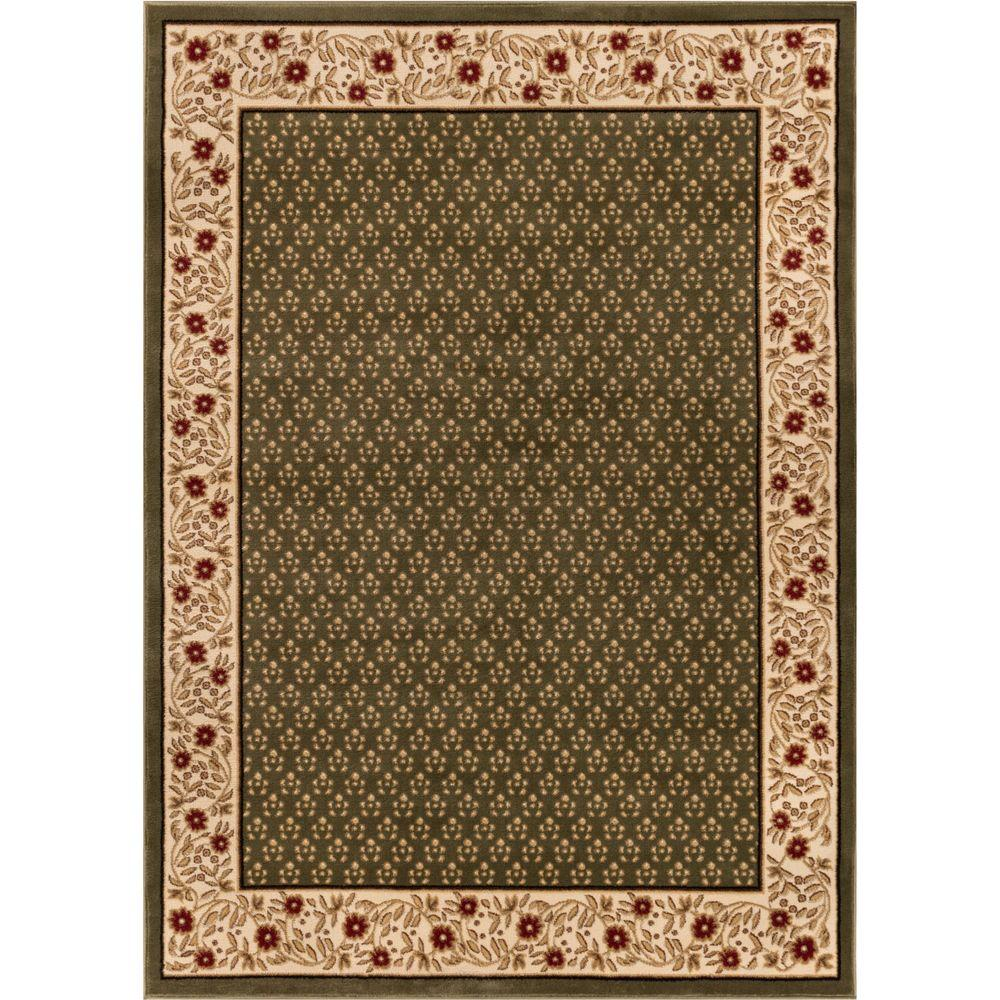 Well Woven Barclay Terrazzo Green 6 ft. 7 in. x 9 ft. 6 in. Transitional Border Area Rug