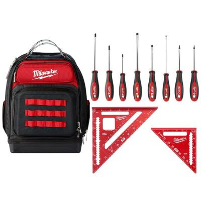 15 in. Ultimate Jobsite Backpack W/Screwdriver Set W/ 7 in. Rafter Square and 4-1/2 in. Trim Square Set (10-Piece)