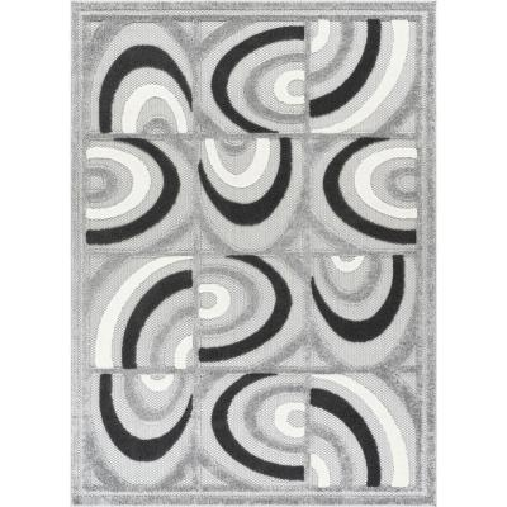 Dorado Bela Modern Geometric Chevron Grey High-Low Indoor/Outdoor 2 ft. 3 in. x 7 ft. 3 in. Runner Rug