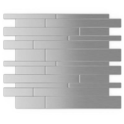 Murano S2 Stainless 9.72 in. x 12.2 in. x 5mm Metal Peel and Stick Wall Mosaic Tile (19.68 sq. ft./case)