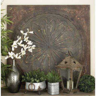43 in. x 43 in. Old World Rusted Iron Tile Medallion Wall Decor