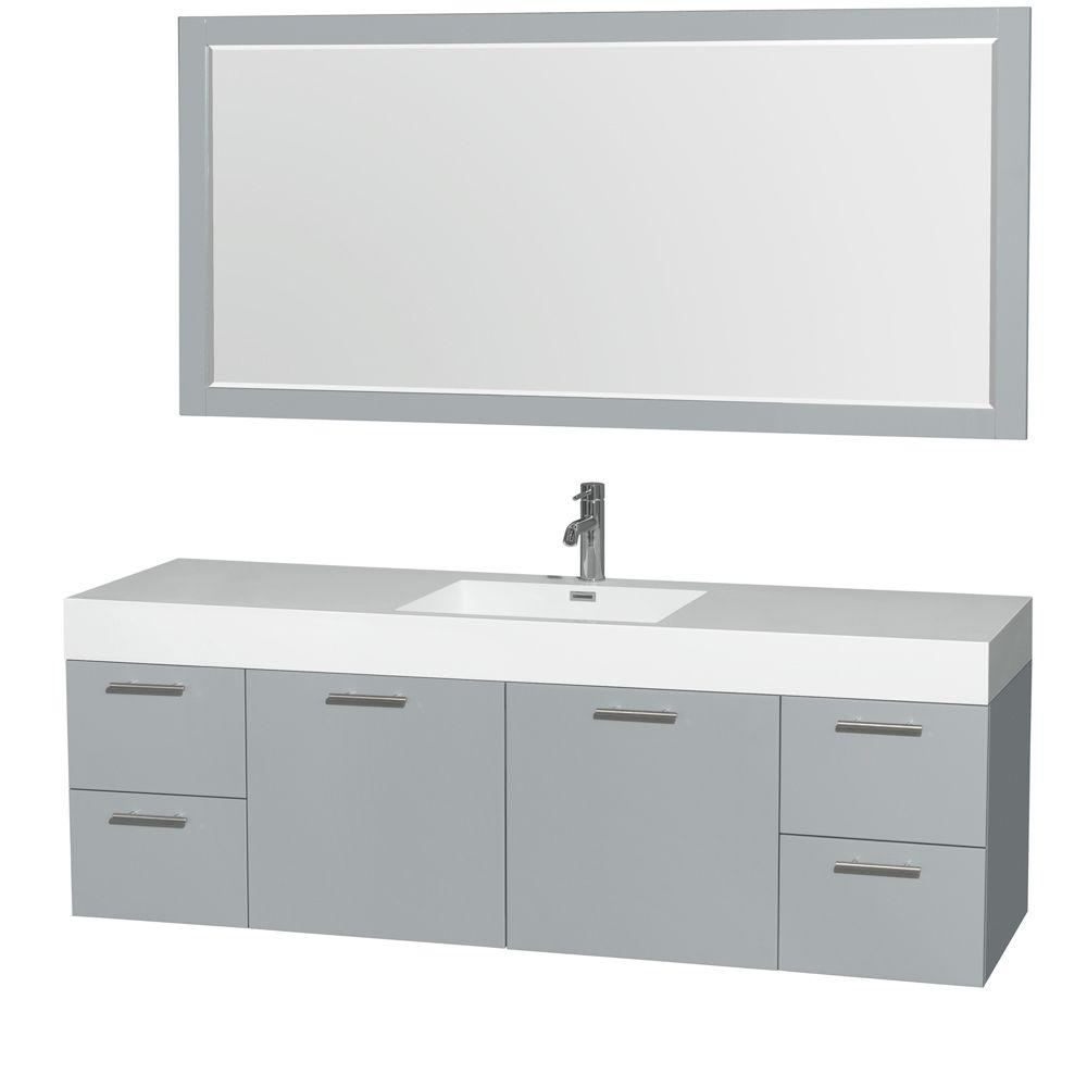 Wyndham Collection Amare 72 in. W x 21.75 in. D Vanity in Dove Gray with Acrylic-Resin Vanity Top in White with White Basin and Mirror