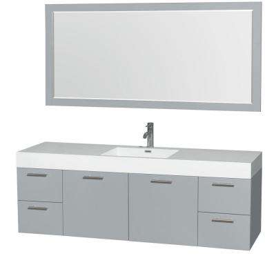Amare 72 in. W x 21.75 in. D Vanity in Dove Gray with Acrylic-Resin Vanity Top in White with White Basin and Mirror